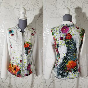 Dolcezza Abstract Floral Print Full Zip Jacket